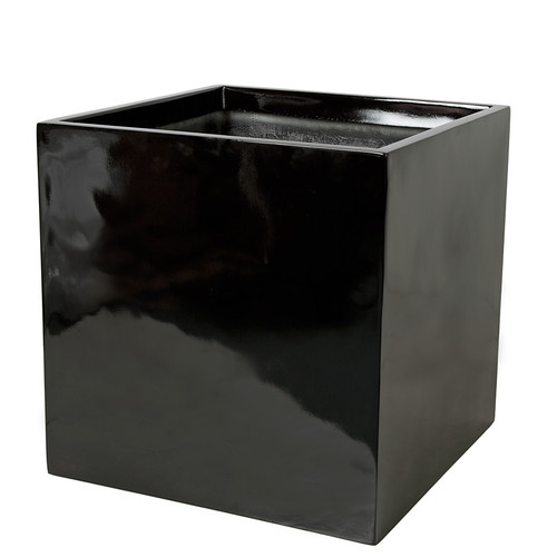 23.5 x 23.5 x 23.5 Inch Square Planter - Gloss Black, Charcoal, Bronze