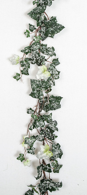 6 Foot Flocked Silver Ivy Garland