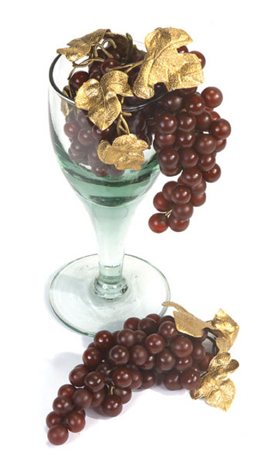7 Inch Grape Cluster- Burgundy/Gold (SOLD BY THE DOZEN)