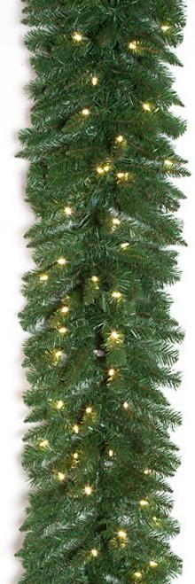 "C-1304549' x 16"" Monroe Pine Garlandwith LED Lights"