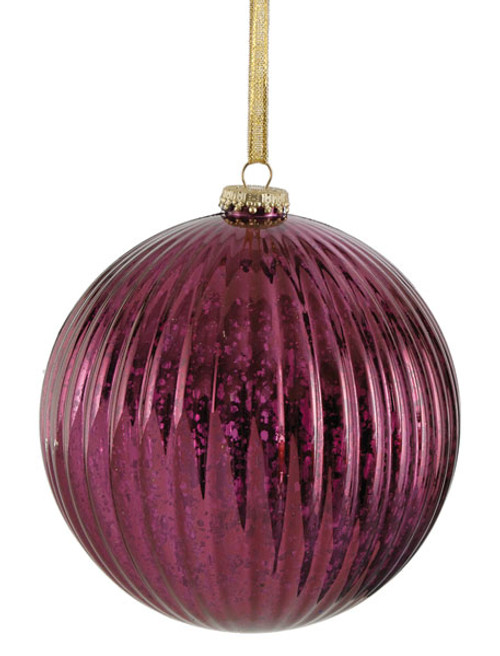 "J-141569 6"" Mercury Glass Finish Ball Burgundy"