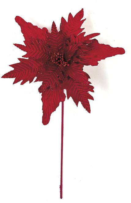 21 Inch Velvet Poinsettia Stem - Red or Gold