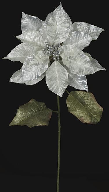 28 Inch Metallic Printed Poinsettia Stem - White/Silver
