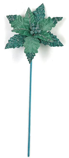25 Inch Glittered Poinsettia Stem