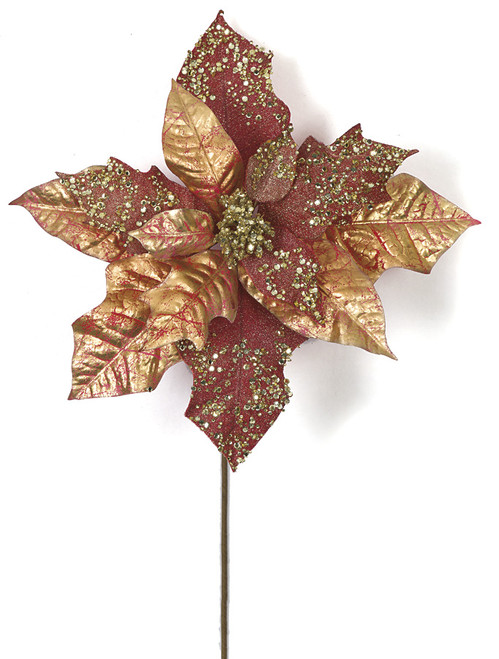 20 Inch Metallic/Glittered Red and Gold Poinsettia Stem