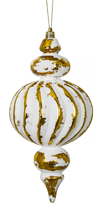 "J-172140 10"" Antique Finial White/Gold"