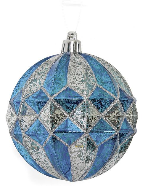 "J-1702304"" Mercury Glass Finish BallBlue/Silver"