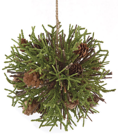 """A-1333006.5"""" Plastic Pine Ball Natural Sticks and Pine Cones Green/Natural"""