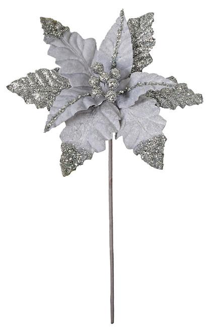 25 Inch Silver Velvet & Glitter Poinsettia Stem