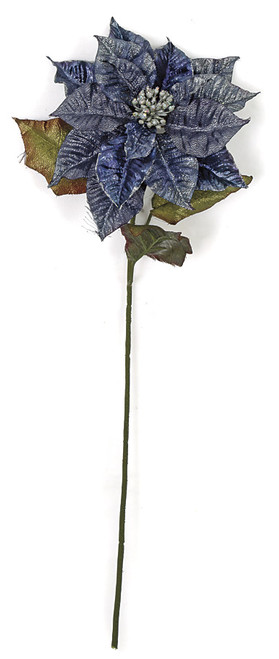 28 Inch Metallic Printed Poinsettia Stem - Blue