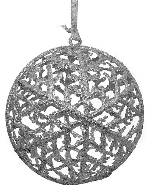 "J-1724436"" Glitter Ball Ornament Silver"
