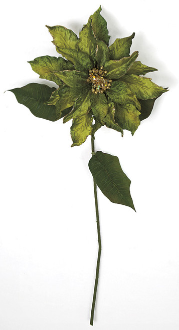 28 Inch Poinsettia Stem with Glitter Trim