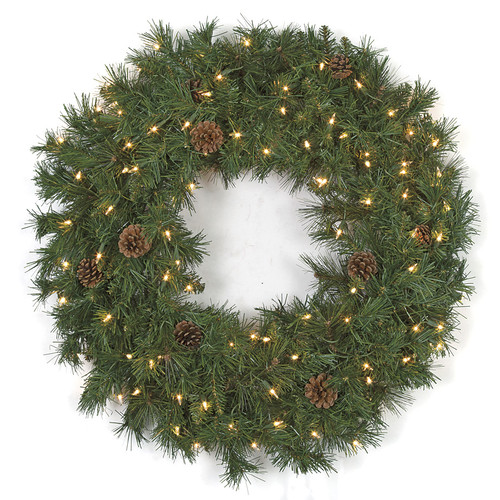 30 Inch Pre-Lit PVC Pine Wreath with Pine Cones