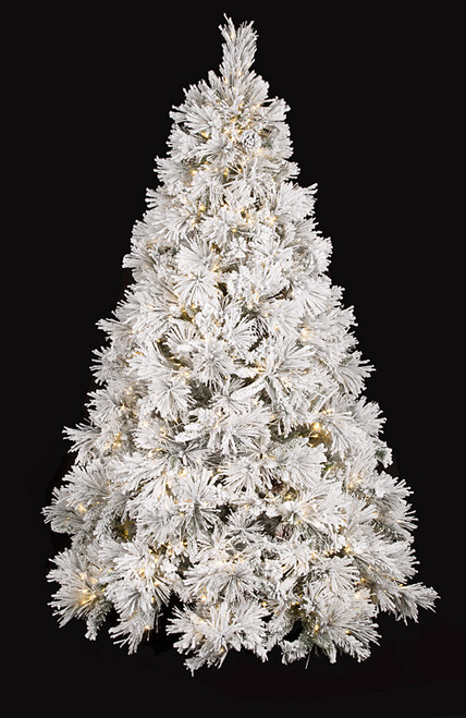 7.5 Foot and 9 Foot Full Sized Flocked Bavarian Pine Tree