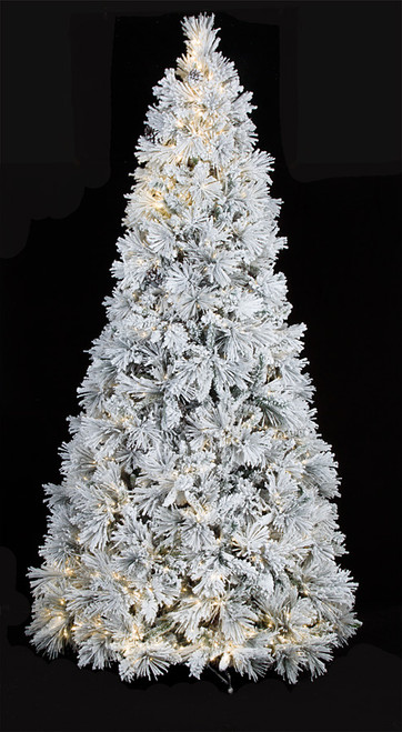 7.5 Foot and 9 Foot Heavy Flocked Slim Bavarian Pine Tree