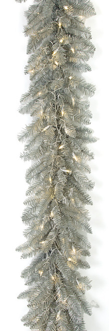 C-174124 6' Matte Silver Garland with LED Lights