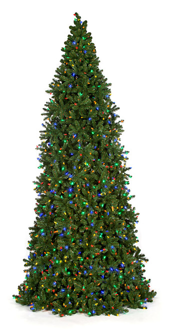 12 Ft., 14 Ft., and 16 Ft. Slim Frame Trees with Multi-Colored Lights