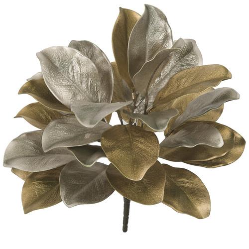 18 Inch Metallic Magnolia Leaf Bush