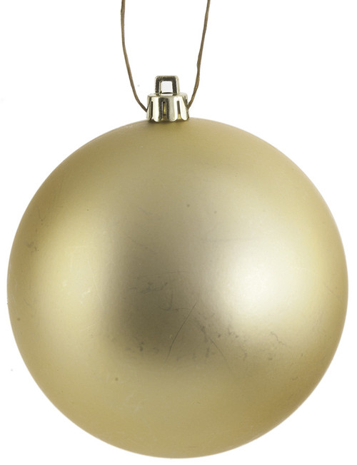 Matte Gold Ball Ornaments in Popular Sizes:  4 Inch, 6 Inch, and 8 Inches