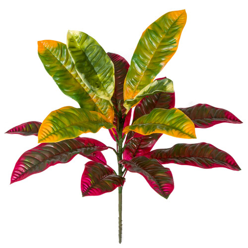 20 Inch Polyblend Outdoor UV Red & Green Croton Plant