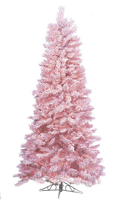 7.5 Foot Pastel Pink Flocked Tree with Pink Lights