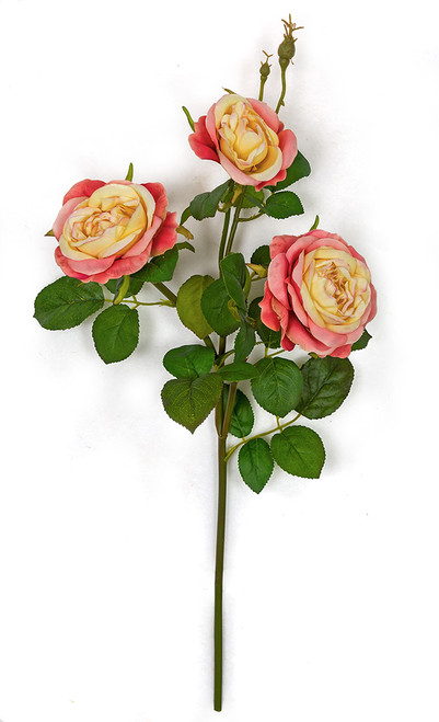 20 Inch Rose Spray with Leaves - Coral/Yellow, White, or Light Pink