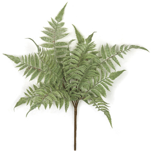16 Inch Light Green/Grey Artificial Fern Bush