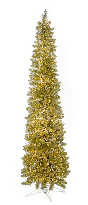 C-180854 9' Sparkling Champagne Trees  with Warm White Micro LED Lights