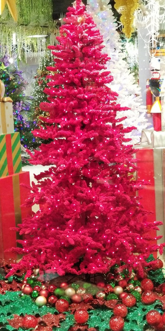 7.5 Foot Red Flocked Valentino Tree