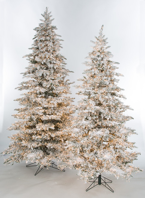 7.5 Ft., 9 Ft., and 12 Ft. Snowy Flocked Polaris Slim Pine Tree with 3mm Multi-Functional LED Lights
