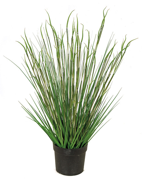 41 Inch Potted PVC Onion Grass and Equisetum