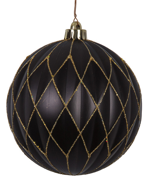 "J-180135 - Gold Glitter Pattern 6"" Matte Black Ball"