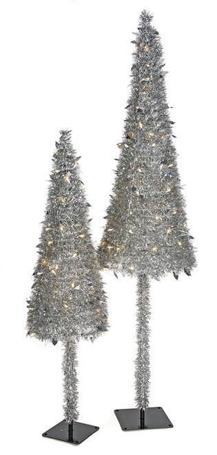 5' and 7' Prelit Silver Tinsel Cone Trees