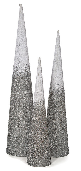 Grouping of Glittered/Beaded Ombre Trees - 4' , 5' , and 6' tall