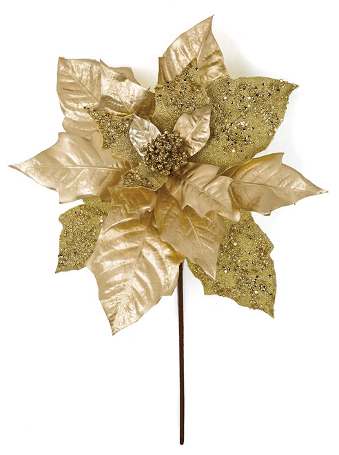 22 L Inch x 17 W Inch  Metallic/Sequined Poinsettia Spray in Gold, Red, Champagne Gold/Silver