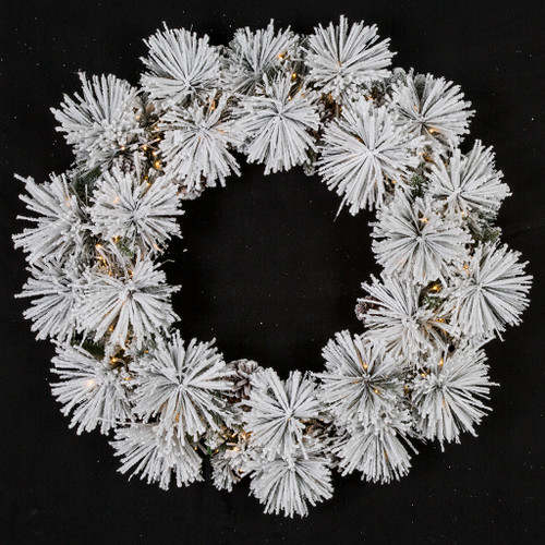 36 Inch Flocked Bavarian Pine Wreath with Pine Cones and 3mm Cluster LED Lights