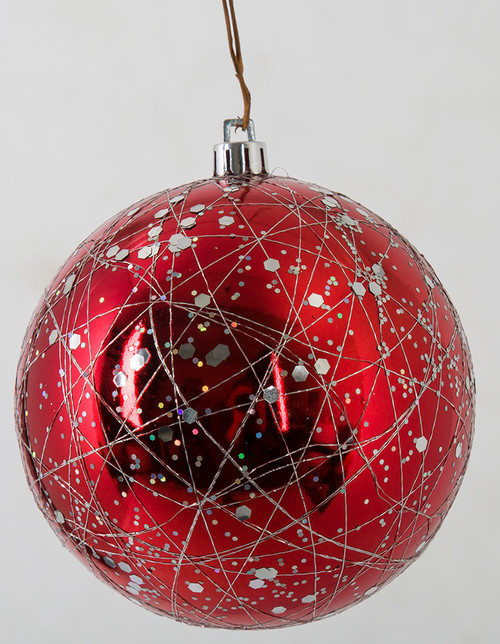 4 Inch Red Reflective Ball with Line and Sequin Pattern - Red/Silver or Red/Green