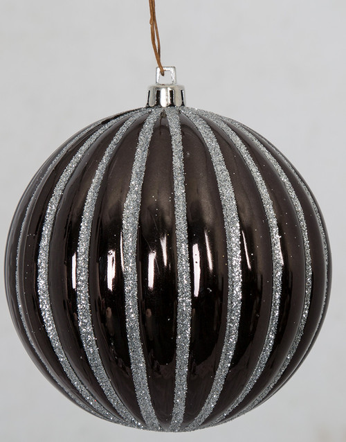 4 Inch and 6 Inch Gloss Black Shiny Ball Ornament with Silver Glitter Lines