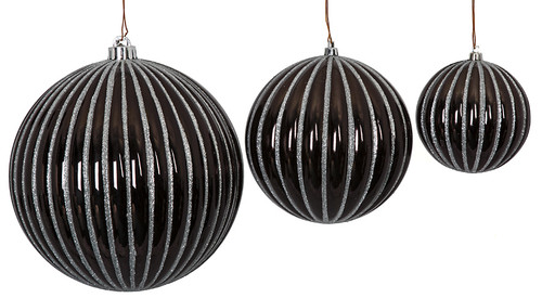 """J-180780, J-180790, J-180800 4"""", 6"""" and 8"""" Gloss Black Ball with Silver Glitter"""