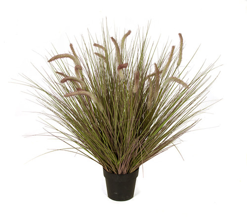 38 Inch PVC AutumnOnion Grass with Cattail Bush