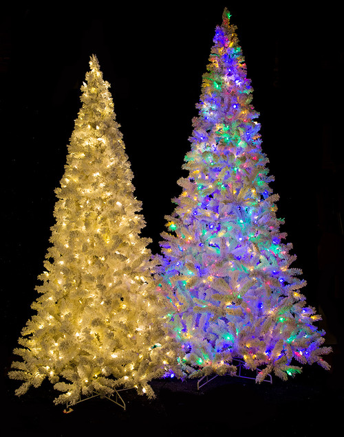 Medium Size Flocked Arctic Pine Trees - 7.5 Ft., 9 Ft., and 12 Ft. Tall with Mixed Warm White and Pastel Multi-Color LED Lights Function - Remote Control To Set Colors