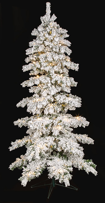 Flocked Slim Glacier Tree with Frosted C7 Lights and LED Lights - 7.5 Ft, 9 Ft, and 12 Ft.