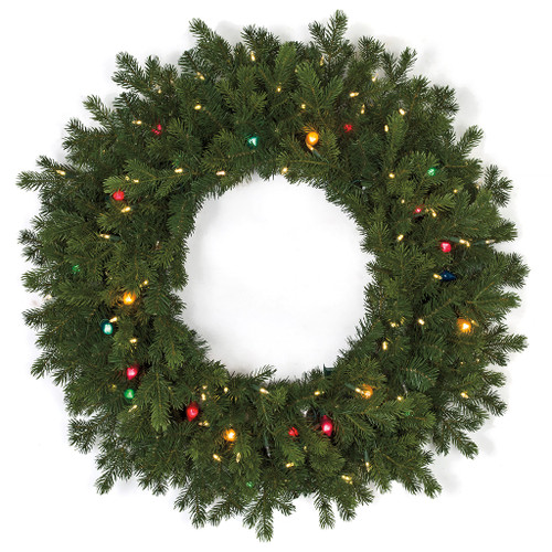 "36"" Mixed PE/PVC Pippa Pine Wreath with C7 Multi-Colored Lights and LED Lights"