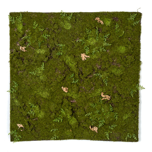 19 Inch L x 19.25 Inch W Artificial Green Moss Sheet with Fern and Bark