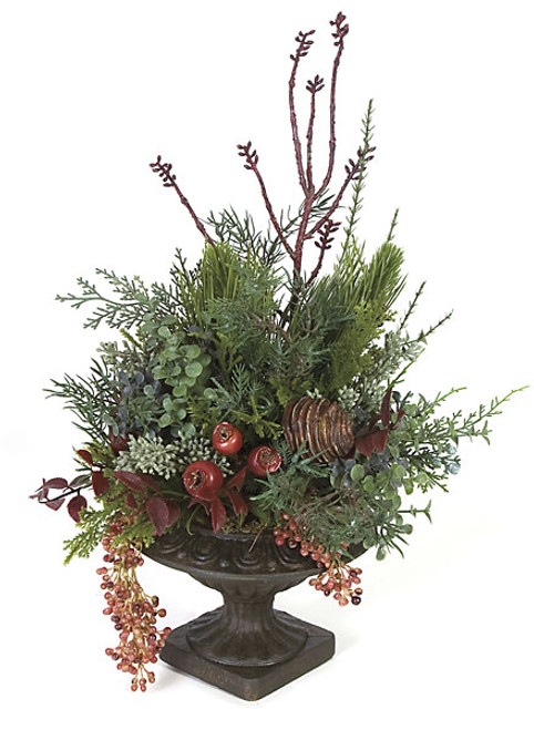 15 Inch Potted Mixed Arrangement with Green & Red Berries in Dark Brown Urn