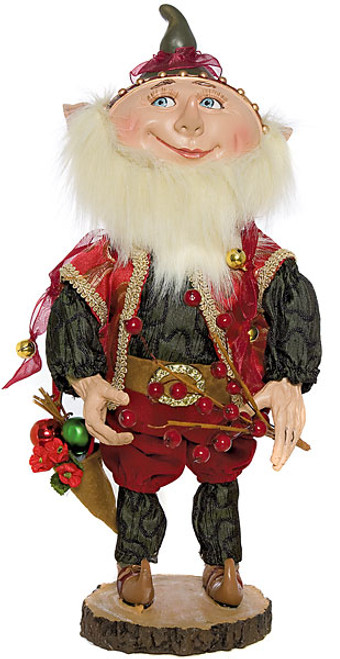 14 Inch Elf Statue Ornament with Red Berry Branch