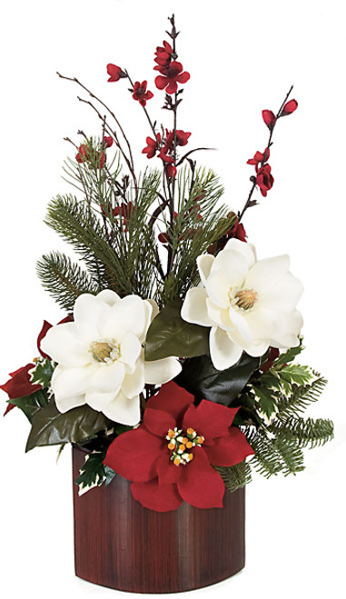26 Inch x 15 Inch Potted Magnolia Arrangement with Poinsettia Flowers and Pine Tips in Oval Wood Pot