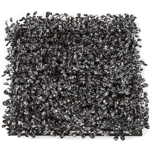 10 Inch x 10 Inch Black Boxwood Mat with Silver Tinsel