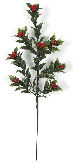 23 Inch Natural Look Holly Spray with Berries