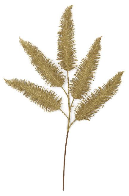 29 Inch Decorative Gold Glittered Fern Leaf Pick